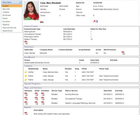Special Education Complete Student Record screenshot