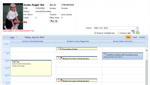Viewing the user/student/school calendars together (screenshot)