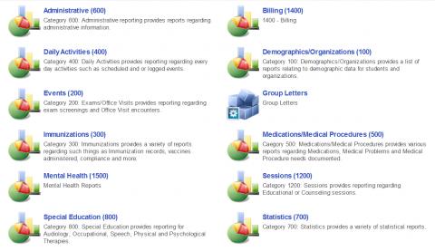 Report categories list screenshot