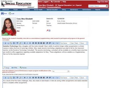 IEP task input screenshot