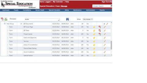 IEP task list screenshot