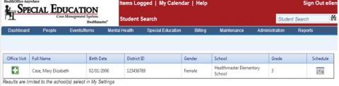 Student search screenshot