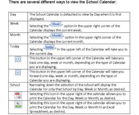 Screenshot explaining how to navigate around the calendar