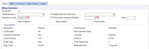 Billing information screenshot (without a template)